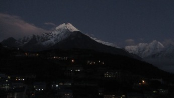 The view from Namche Bazaar at night
